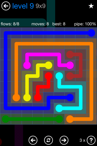 Solution and Answer to the Puzzle for Flow Bonus Pack Set 9x9 Level 9