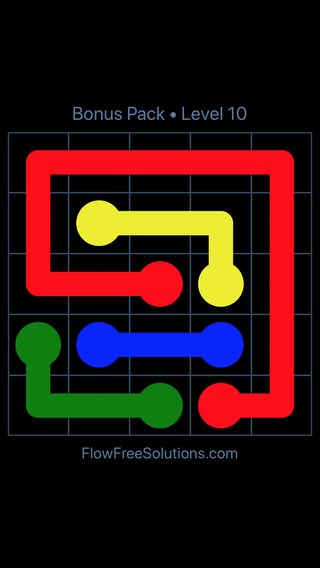 Solution and Answer to the Puzzle for Flow Free Bonus Pack Level 10