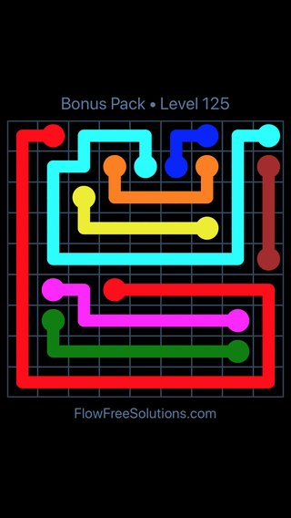 Solution and Answer to the Puzzle for Flow Free Bonus Pack Level 5