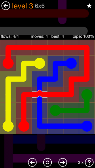 Solution and Answer to the Puzzle for Flow Bridges Pack Set 6x6 Level 3
