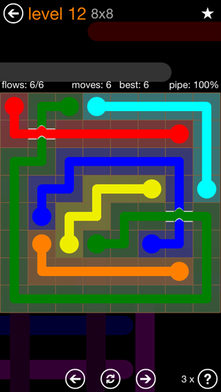 Solution and Answer to the Puzzle for Flow Bridges Pack Set 8x8 Level 12
