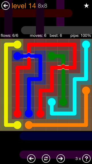 Solution and Answer to the Puzzle for Flow Bridges Pack Set 8x8 Level 14