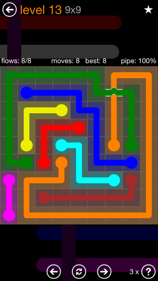 Solution and Answer to the Puzzle for Flow Bridges Pack Set 9x9 Level 13