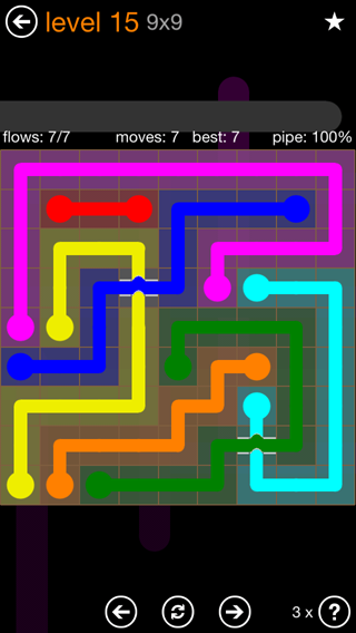 Solution and Answer to the Puzzle for Flow Bridges Pack Set 9x9 Level 15