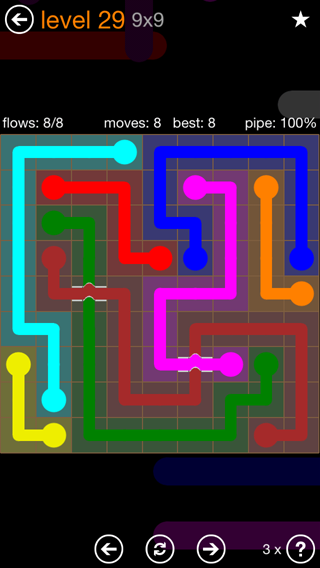 Solution and Answer to the Puzzle for Flow Bridges Pack Set 9x9 Level 29