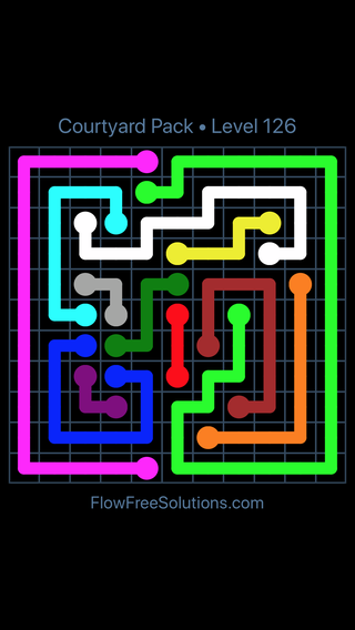 Solution and Answer to the Puzzle for Flow Free Courtyard Pack Level 126