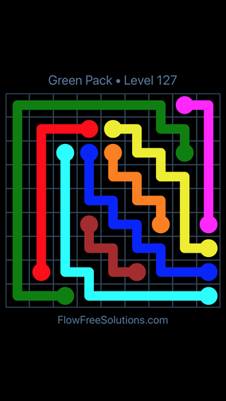Solution and Answer to the Puzzle for Flow Free Green Pack Level 7