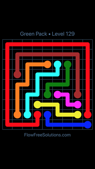 Solution and Answer to the Puzzle for Flow Free Green Pack Level 9