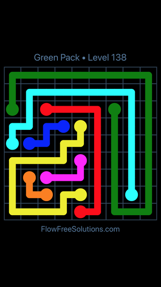 Solution and Answer to the Puzzle for Flow Free Green Pack Level 18
