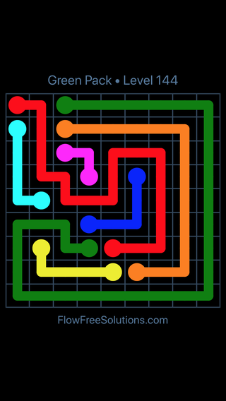 Solution and Answer to the Puzzle for Flow Free Green Pack Level 24