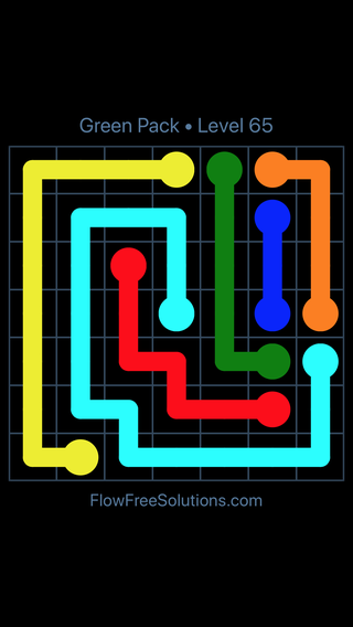 Solution and Answer to the Puzzle for Flow Free Green Pack Level 5