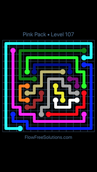 Solution and Answer to the Puzzle for Flow Free Pink Pack Level 17