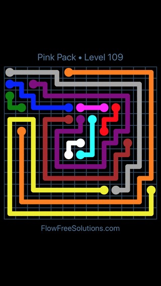 Solution and Answer to the Puzzle for Flow Free Pink Pack Level 19