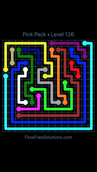 Solution and Answer to the Puzzle for Flow Free Pink Pack Level 6