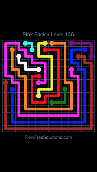 Solution and Answer to the Puzzle for Flow Free Pink Pack Level 26