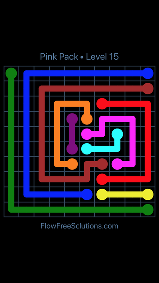 Solution and Answer to the Puzzle for Flow Free Pink Pack Level 15