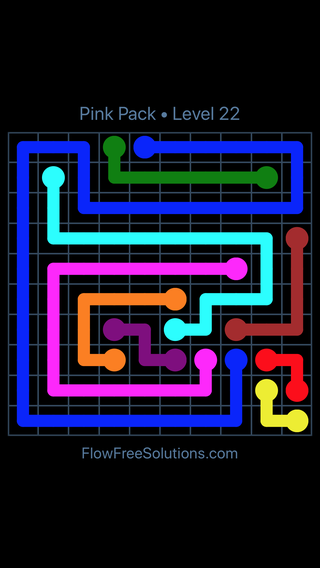 Solution and Answer to the Puzzle for Flow Free Pink Pack Level 22