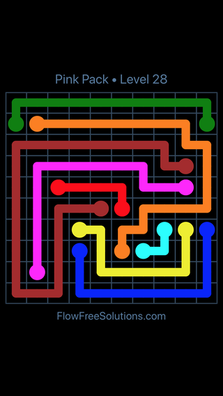 Solution and Answer to the Puzzle for Flow Free Pink Pack Level 28