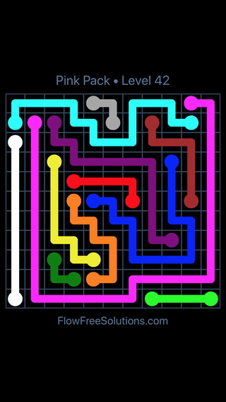 Solution and Answer to the Puzzle for Flow Free Pink Pack Level 12