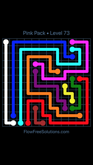 Solution and Answer to the Puzzle for Flow Free Pink Pack Level 13