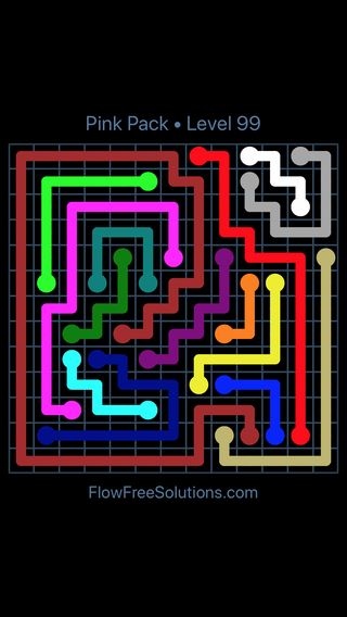 Solution and Answer to the Puzzle for Flow Free Pink Pack Level 9