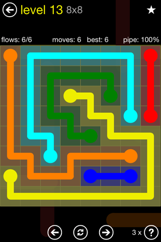 Solution and Answer to the Puzzle for Flow Regular Pack Set 8x8 Level 13