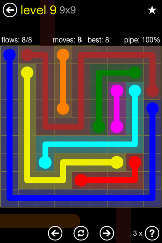 Solution and Answer to the Puzzle for Flow Regular Pack Set 9x9 Level 9