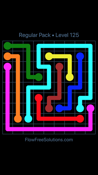 Solution and Answer to the Puzzle for Flow Free Regular Pack Level 5