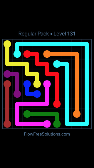 Solution and Answer to the Puzzle for Flow Free Regular Pack Level 11