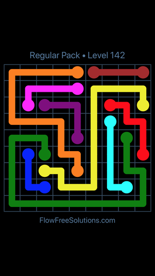 Solution and Answer to the Puzzle for Flow Free Regular Pack Level 22