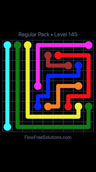 Solution and Answer to the Puzzle for Flow Free Regular Pack Level 25
