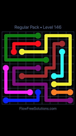 Solution and Answer to the Puzzle for Flow Free Regular Pack Level 26