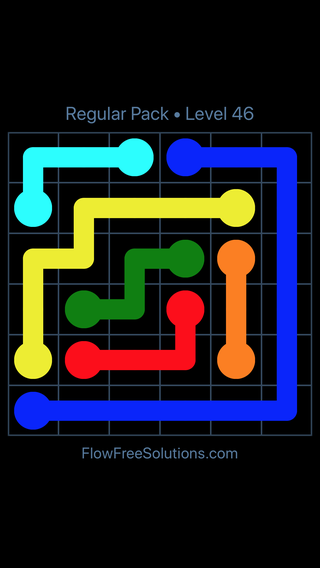 Solution and Answer to the Puzzle for Flow Free Regular Pack Level 16