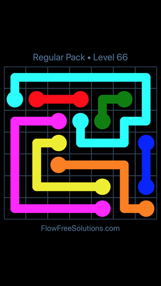 Solution and Answer to the Puzzle for Flow Free Regular Pack Level 6
