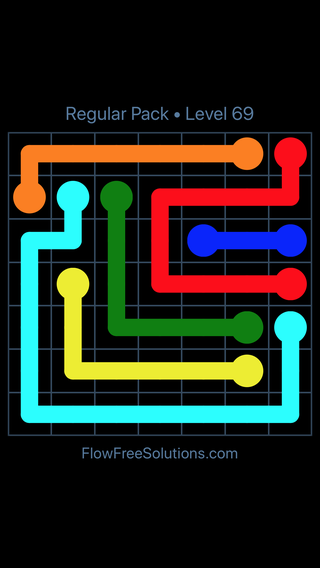 Solution and Answer to the Puzzle for Flow Free Regular Pack Level 9