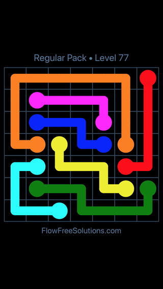 Solution and Answer to the Puzzle for Flow Free Regular Pack Level 17