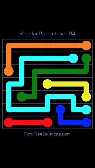 Solution and Answer to the Puzzle for Flow Free Regular Pack Level 24