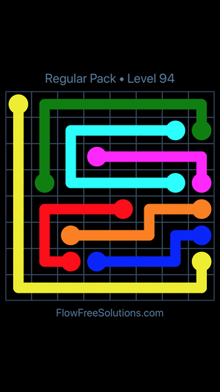 Solution and Answer to the Puzzle for Flow Free Regular Pack Level 4