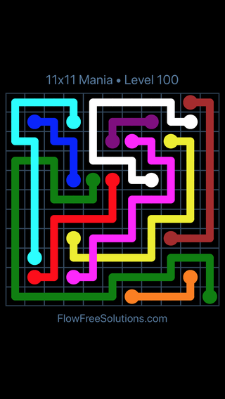 Solution and Answer to the Puzzle for Flow Free: Bridges 11x11 Mania Level 100