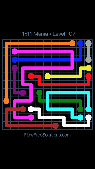 Solution and Answer to the Puzzle for Flow Free: Bridges 11x11 Mania Level 107