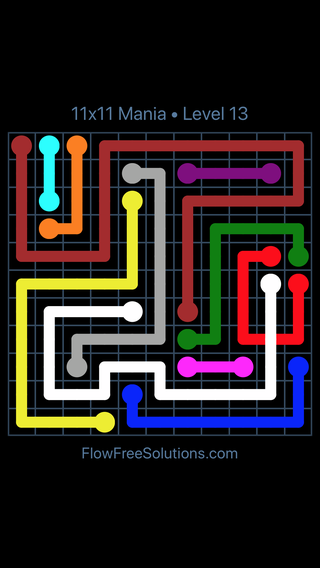 Solution and Answer to the Puzzle for Flow Free: Bridges 11x11 Mania Level 13