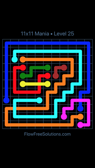 Solution and Answer to the Puzzle for Flow Free: Bridges 11x11 Mania Level 25