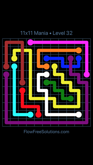 Solution and Answer to the Puzzle for Flow Free: Bridges 11x11 Mania Level 32