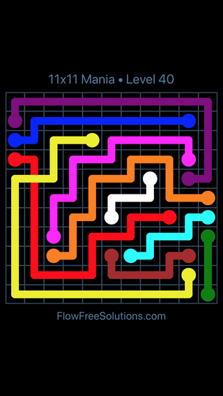 Solution and Answer to the Puzzle for Flow Free: Bridges 11x11 Mania Level 40