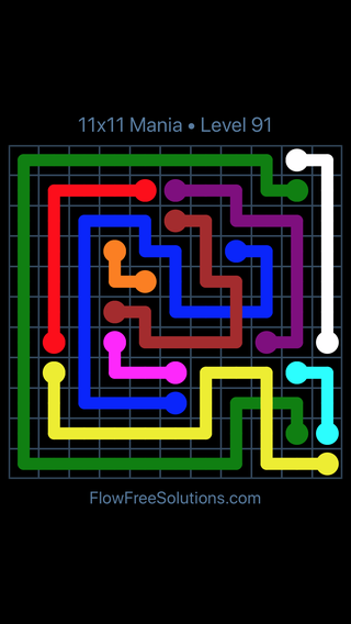 Solution and Answer to the Puzzle for Flow Free: Bridges 11x11 Mania Level 91