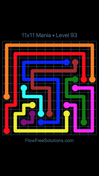 Solution and Answer to the Puzzle for Flow Free: Bridges 11x11 Mania Level 93
