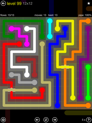 Solution and Answer to the Puzzle for Bridges 12mania Pack Set 12x12 Level 99