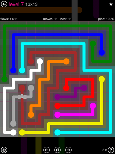 Solution and Answer to the Puzzle for Bridges 13mania Pack Set 13x13 Level 7