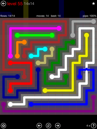 Solution and Answer to the Puzzle for Bridges 14mania Pack Set 14x14 Level 55