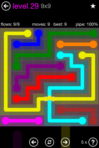 Solution and Answer to the Puzzle for Bridges 9mania Pack Set 9x9 Level 29